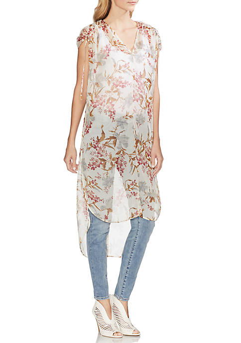 Vince Camuto Ruched Shoulder Floral Tunic