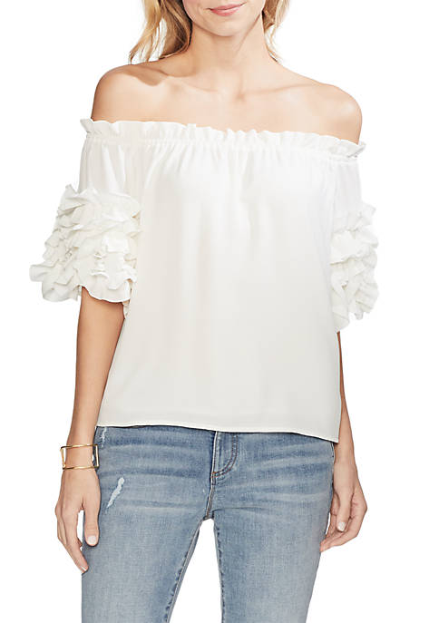 Tiered Ruffle Off The Shoulder Blouse