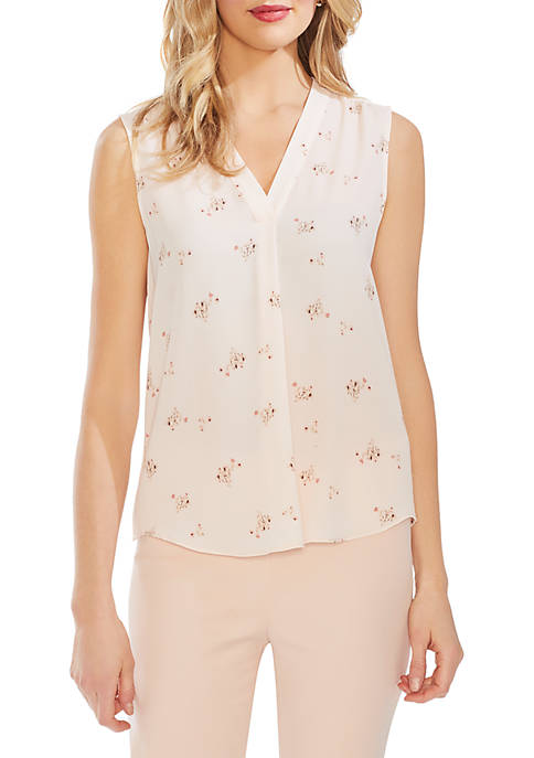 Vince Camuto Ditsy V Neck Rumple Blouse