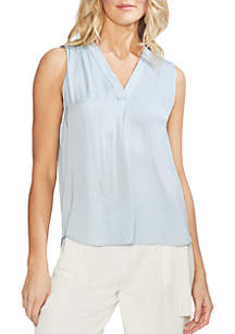 Vince Camuto Solid V-Neck Rumple Blouse