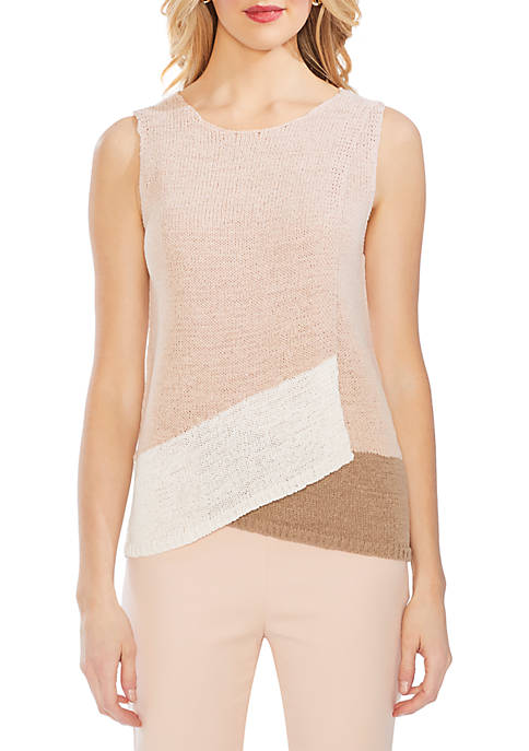 Vince Camuto Color Block Fold Over Sweater Tank