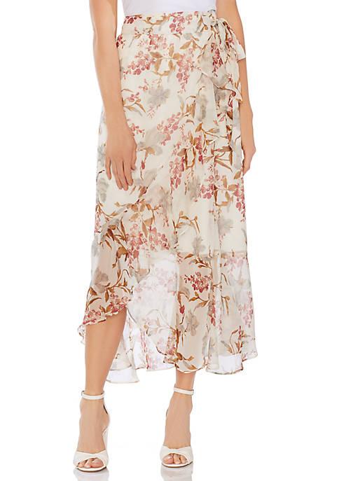 Floral Faux Wrap Ruffle Skirt