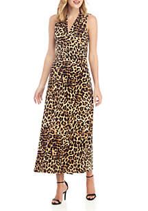 Vince Camuto Sleeveless Exotic Animal Maxi Dress