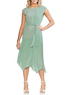 Vince Camuto Mix Stripe Tie Waist Dress