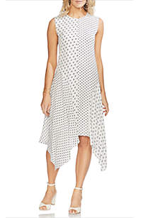 Vince Camuto Diamond Geometric Print Asymmetric Hem Dress