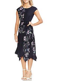 Vince Camuto Placed Floral Asymmetric Hem Dress