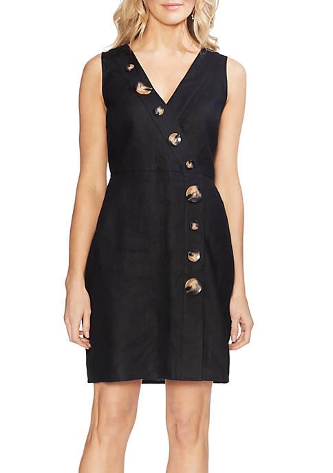 Tortoise Button Wrap Linen Dress