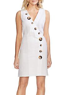 Vince Camuto Tortoise Button Wrap Linen Dress