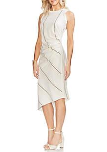 Vince Camuto Stripe Asymmetric Side Ruch Dress