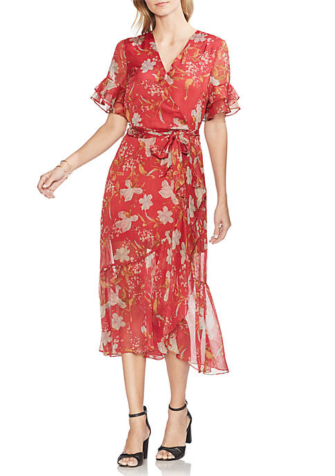 Floral Ruffle Sleeve Wrap Dress