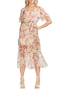 fedc47f6 ... Vince Camuto Floral Ruffle Sleeve Wrap Dress