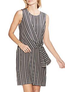 Vince Camuto Stripe Asymmetric Tie Front Dress