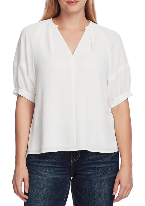 Womens V-Neck Puff Sleeve Solid Blouse