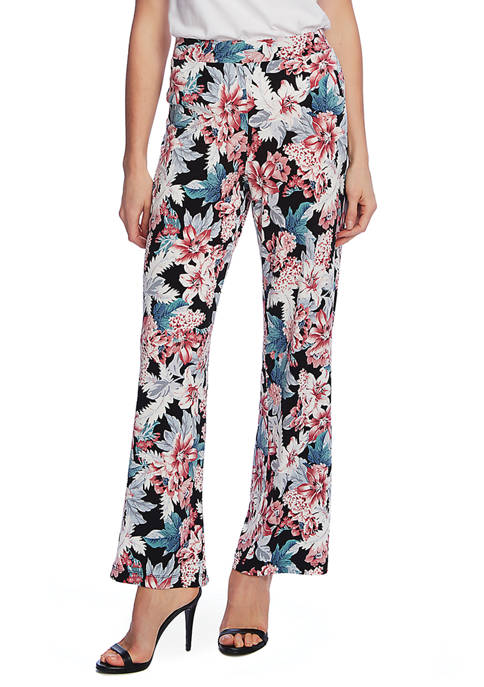 Womens Floral Pull-On Pants