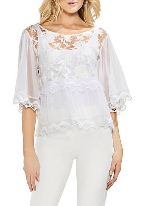 Vince Camuto Bell Sleeve Floral Embroidered Mesh Blouse