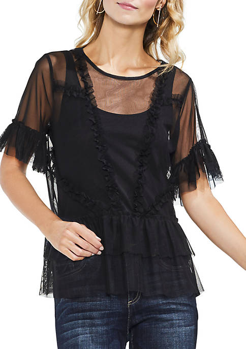 Vince Camuto Tiered Ruffle Sleeve Hem Mesh Blouse