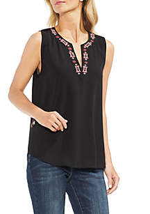 Sleeveless Embroidered Neck Soft Texture Blouse