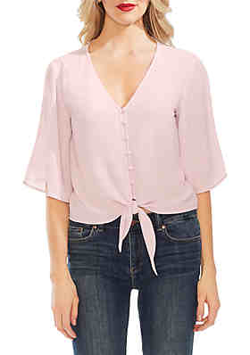 0a44e81e0f8 Vince Camuto Bell Sleeve Tie Front Button Down Soft Textured Blouse ...