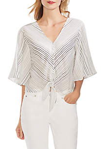 Vince Camuto Flare Sleeve Delicate Strands Tie Front Blouse
