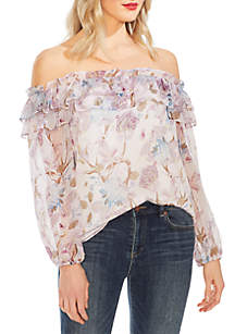 5c20abba058d ... Vince Camuto Long Sleeve Poetic Blooms Ruffled Off the Shoulder Blouse