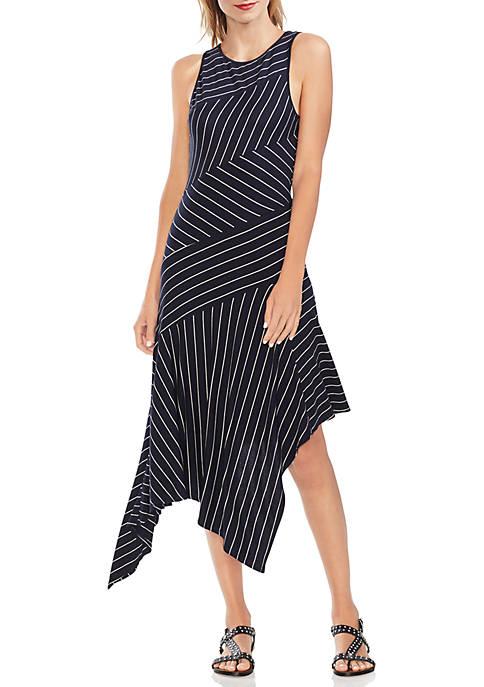 Sleeveless Asymmetrical Handkerchief Hem Stripe Dress