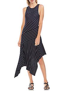 Vince Camuto Sleeveless Asymmetrical Handkerchief Hem Stripe Dress