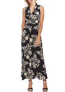 Vince Camuto Floral V Neck Maxi Dress