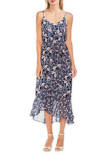 Vince Camuto Charming Floral Ruffle Front Belted Dress