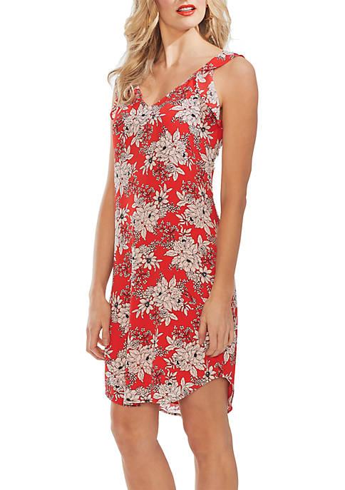 Sleeveless Flutter Shoulder Boudoir Botanical Dress