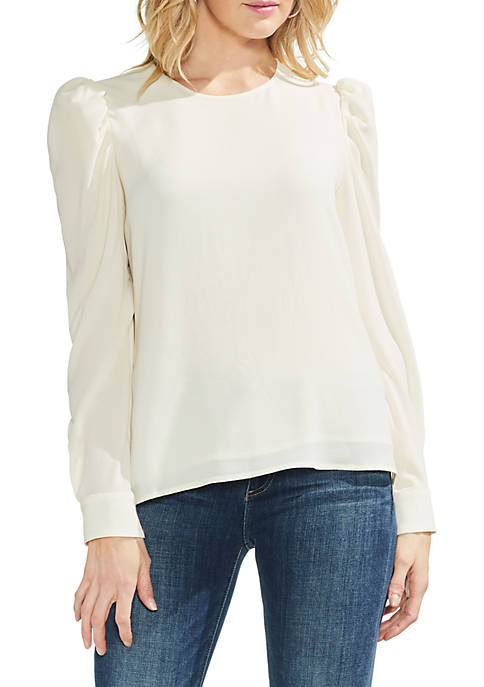 Puff Shoulder Long Sleeve Blouse