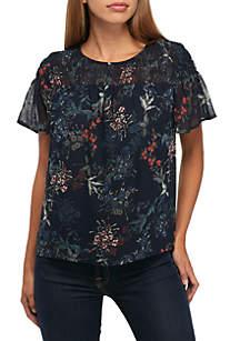 Short Sleeve Smocked Floral Blouse