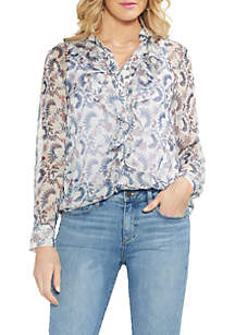 Long Sleeve Ruffle Front Floral Blouse