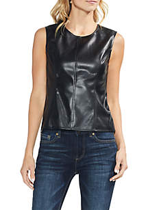 Knit Back Pleather Shell Top