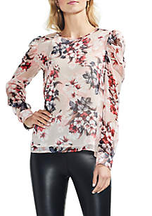 Long Sleeve Puff Shoulder Floral Blouse
