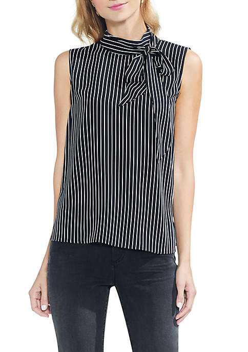 Vince Camuto Sleeveless Pinstripe Tie Neck Blouse