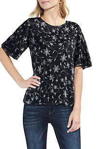 Ruffle Short Sleeve Floral Blouse