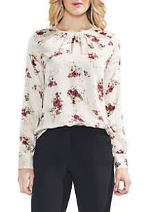 Long Sleeve Bouquet Mixed Print Blouse