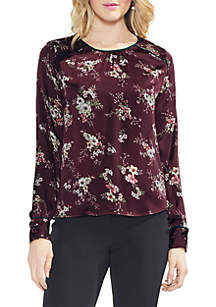 Long Sleeve Bouquet Mixed Print Blouse
