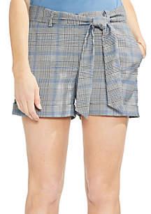 Blue Accent Plaid Cuffed Shorts