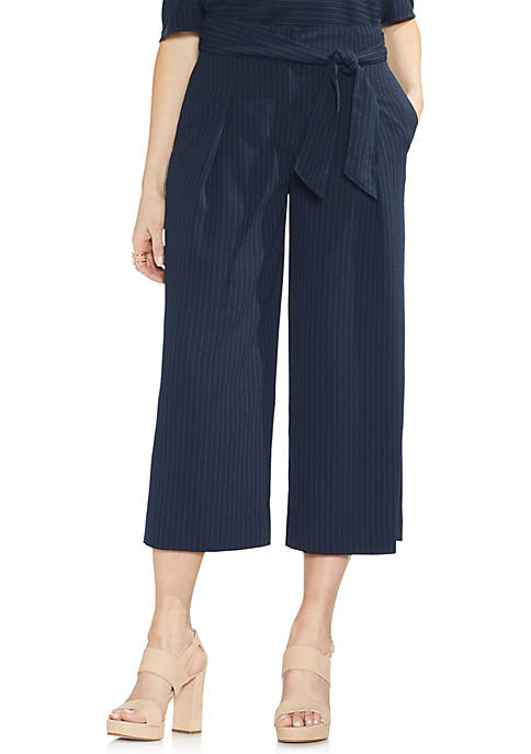 Vince Camuto Soft Pinstripe Belted Cropped Pants