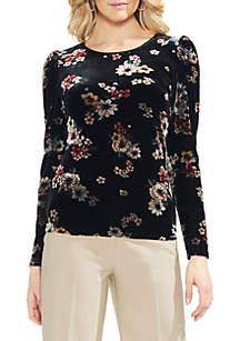 Long Sleeve Velvet Floral Top