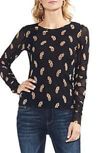 Ruched Long Sleeve Paisley Estate Mesh Blouse