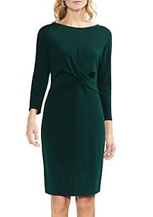 Long Sleeve Cross Front Bodice Dress