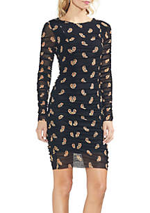 Long Sleeve Paisley Ruched Mesh Dress