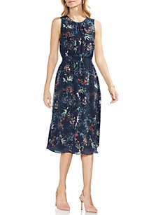 Sleeveless Smocked Waist Floral Dress