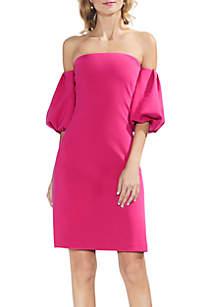 Crepe Ponte Off-the-Shoulder Dress