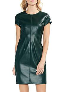Cap Sleeve Faux Leather Dress