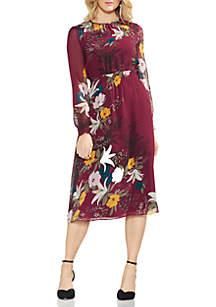 Long Sleeve Botanica CInched Waist Dress