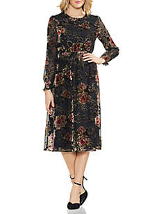 Long Sleeve Floral Velvet Dress