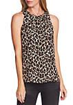 Sleeveless Pleat Leopard Print Blouse